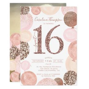 Chic rose gold glitter pink balloon Sweet 16 photo Invitation