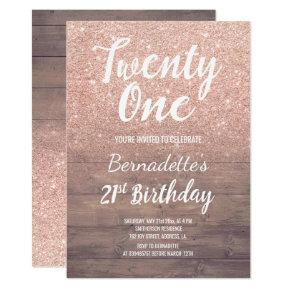 Chic rose gold glitter rustic wood 21st Birthday Invitations