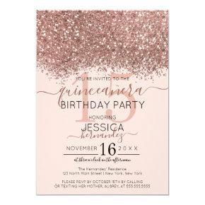 Chic Rose Gold Pink Glitter Confetti Quinceañera Invitation