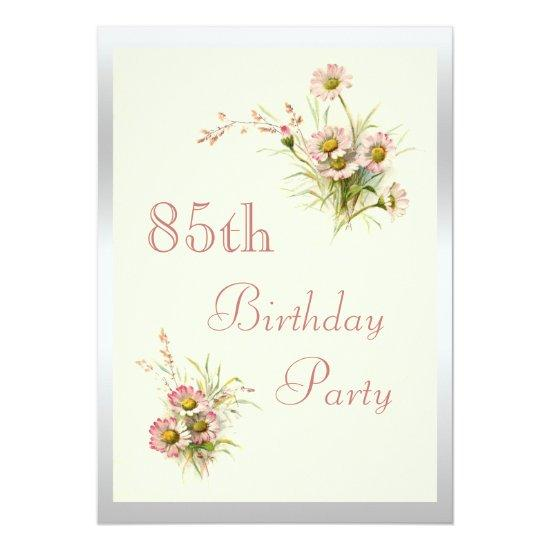 Chic Spring Flowers 85th Birthday Invitations