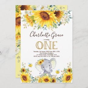Chic Sunflower Elephant Greenery Gold 1st Birthday Invitation