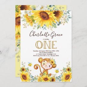 Chic Sunflower Monkey Greenery Gold 1st Birthday Invitation