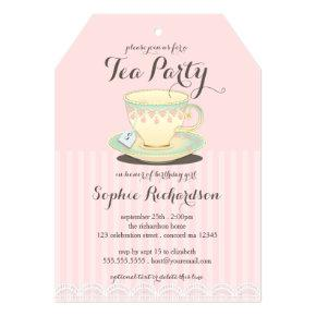 Chic Teacup on Pink Birthday Tea Party Card