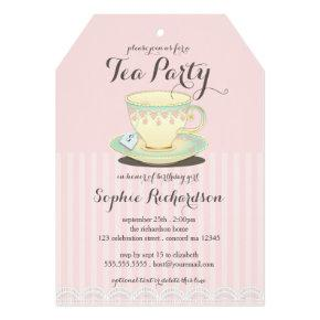 Chic Teacup on Pink Birthday Tea Party Invitations