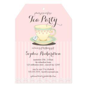 Chic Teacup on Pink Birthday Tea Party Invitation