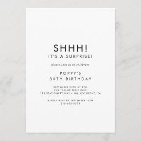 Chic Typography Surprise Party Invitation