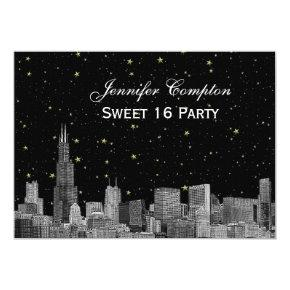 Chicago Skyline Etch Starry DIY BG SQ Sweet 16 H Invitation