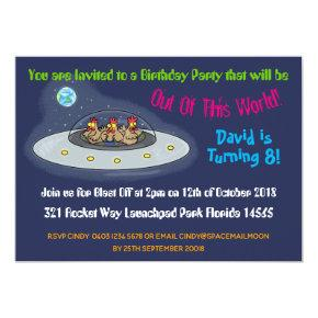 Chickens In Space Cartoon 8th Birthday Invitations