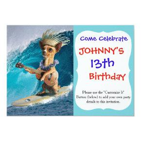 Chihuahua surfing and playing guitar invitation