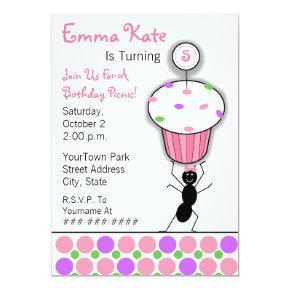 Childrens Birthday Picnic Party - Ant & Cupcake Invitation