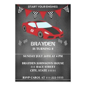 Children's Chalkboard Race Car Birthday Invitations