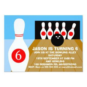 Children's Ten-Pin Bowling Birthday Invitations