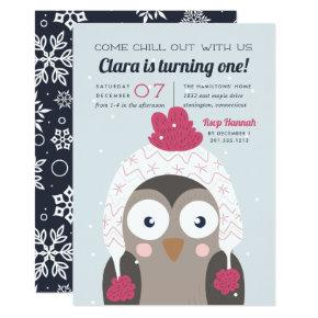 Chill Out | Cute Winter Owl Birthday Party Invitations