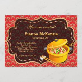 Chinese food Birthday party Invitation