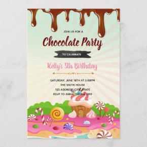 Chocolate candyland birthday invitation