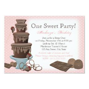 Chocolate Fountain Movie Sleepover Invitation