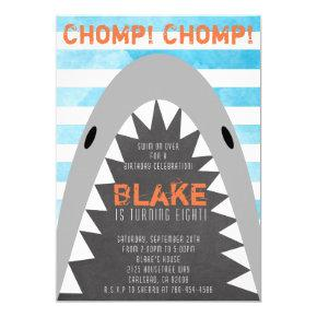 Chomp Chomp Shark Theme Birthday Boy striped Jaws Invitation