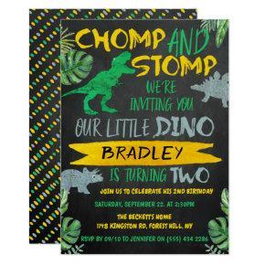 Chomp & Stomp! Dinosaur Boys 2nd Birthday Invitation