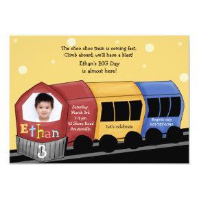 Choo Choo Express - Photo Birthday Party Invitati Invitation