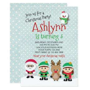 Christmas Birthday Party Invitations.Santa Claus Blue Christmas Birthday Invitation Candied Clouds