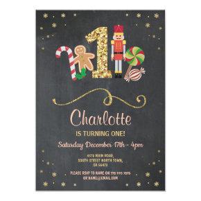 Christmas First One Birthday Holidays Chalk Invite