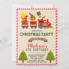 Christmas train theme invitation
