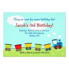 Chugga Choo Choo Train 5x7 Birthday Invitation