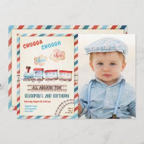 Chugga Choo Train Vintage Boy Red Blue Birthday Invitation