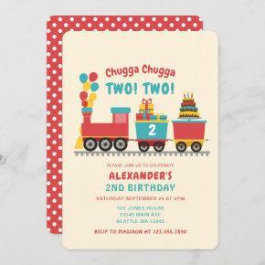 Chugga Chugga TWO TWO Kids Birthday Invitation