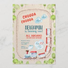 Chugga Train Choo Boy Red Blue Birthday Rails Invitation