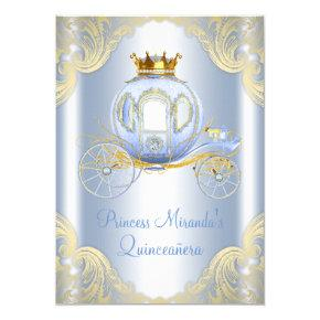 Cinderella Blue Gold Princess Quinceanera Card