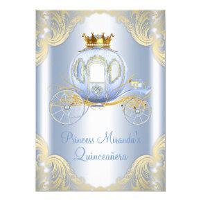 Cinderella Blue Gold Princess Quinceanera Invitations