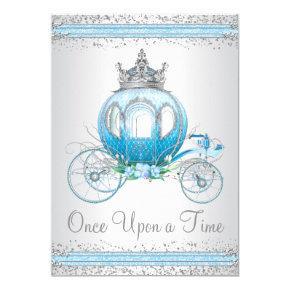 Cinderella Blue Princess Birthday Party Invitations