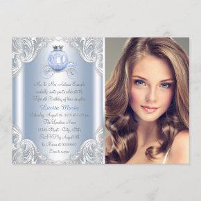 Cinderella Blue Princess Quinceanera Invitation