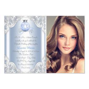 Cinderella Blue Princess Quinceanera Invitations