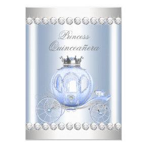 Cinderella Blue Silver Princess Quinceanera Card