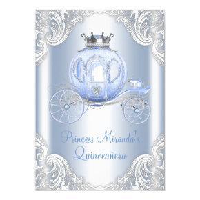 Cinderella Blue Silver Princess Quinceanera Invitations