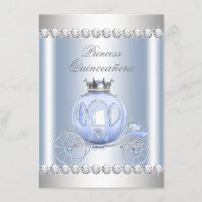 Cinderella Blue Silver Princess Quinceanera Invitation