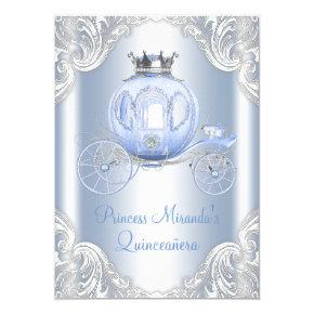 Cinderella Blue Silver Princess Quinceanera Invitations