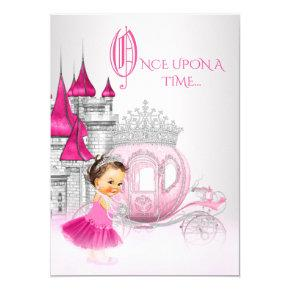 Cinderella Once Upon a Time Pink Princess Birthday Invitations