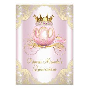 Cinderella Pink Gold Princess Quinceanera Invitations