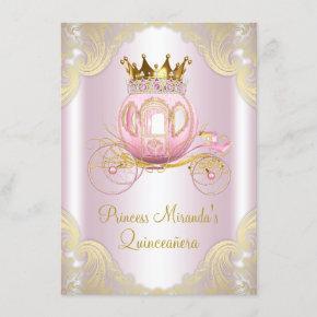 Cinderella Pink Gold Princess Quinceanera Invitation