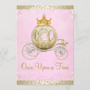 Cinderella Pink Once Upon a Time Princess Birthday Invitation