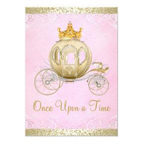 Cinderella Pink Once Upon a Time Princess Birthday Invitations