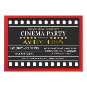 Cinema Birthday Party Any Age Theatre Film Invitation