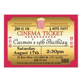 Cinema Movie Ticket Popcorn Party Event Invitation