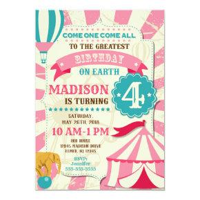 Circus Birthday Invitation Girl Carnival Invite