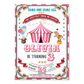 Circus birthday invitation Vintage Carnival kids