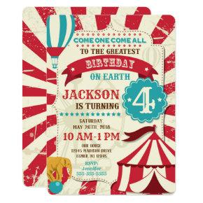 Circus Birthday Invitation Vintage Carnival Theme