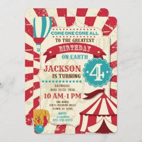 Circus Birthday Invitation Vintage Carnival Theme